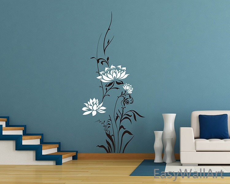Beautiful lotus wall decal for living room bedroom office - Beautiful wall stickers for living room ...