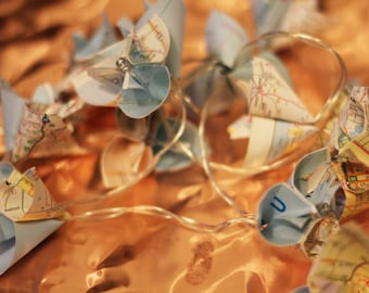 Vintage Map Fairy Lights
