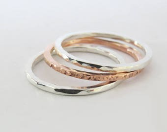 Set of 3 Mixed Metal Rings, Hammered Copper Ring, Hammered Silver Ring, 925 Sterling Silver Rings, Simple Stacking Rings