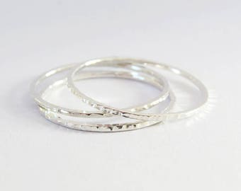 Set of 3 Thin Stacking Ring, Dainty Rings, Thin Hammered Rings, Super Thin 1 mm Rings, 925 Sterling Silver Rings, Simple Silver Rings