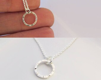 Tiny Circle Necklace, Minimalist Circle Necklace, 925 Sterling Silver Necklace, Dainty Necklace, Perfect For Everyday Use, Gift For Her