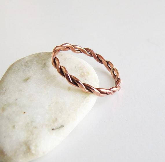 Kupfer-Seil-Ring Ring drehen dünne Kupferring zierliche