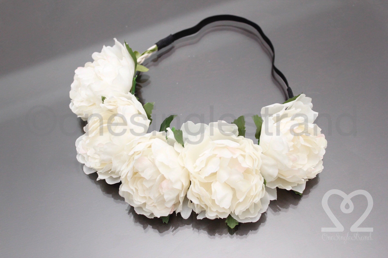 White Peonies Flower Crown Headband