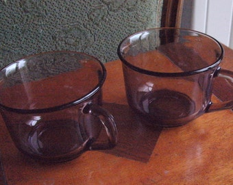 1970's UNUSED ARCOROC(France)-Lovely pair of original vintage smoked glass cups. One owner. EXCELLENT condition.