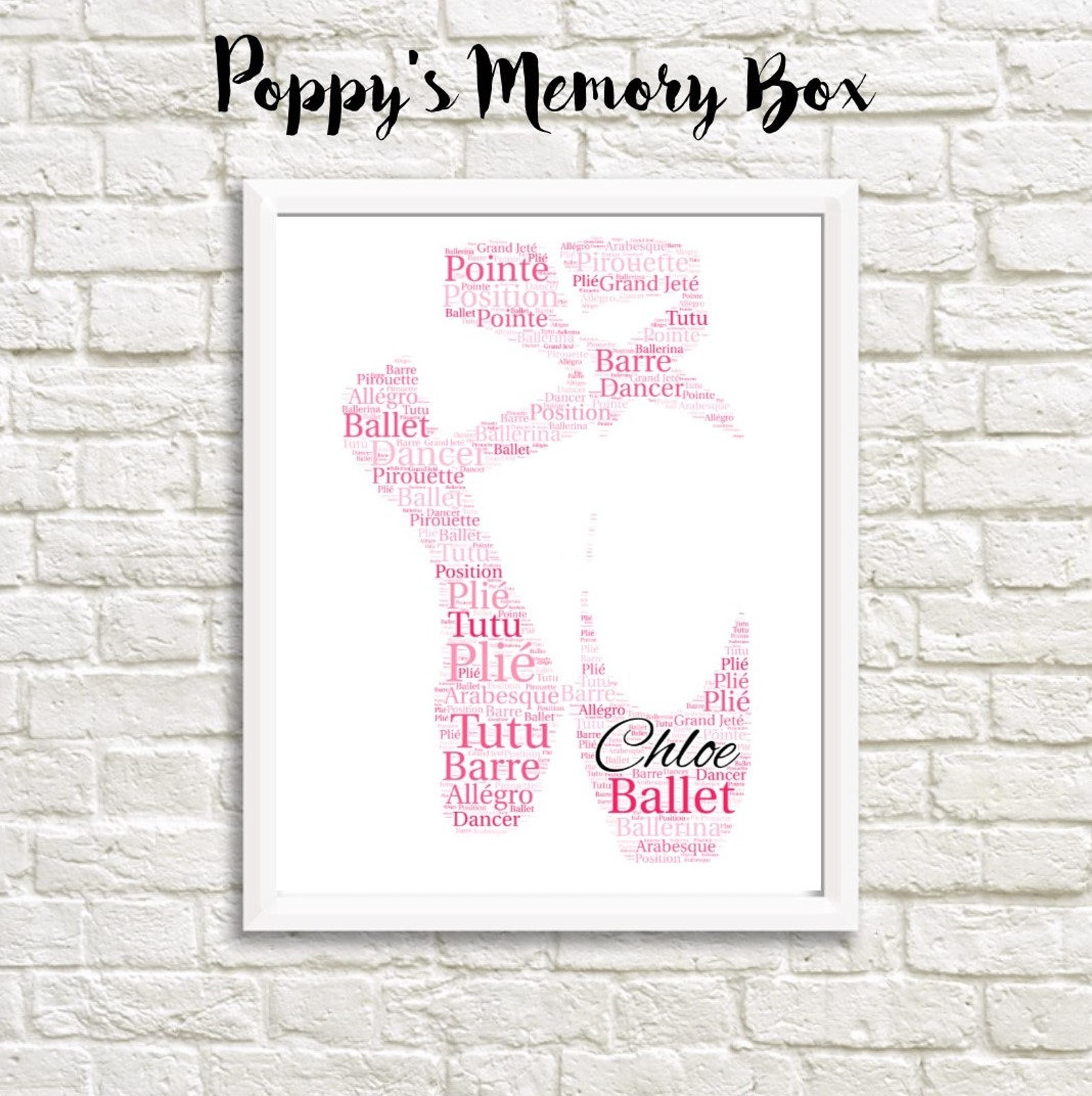 ballet shoes gift, personalised ballet word art, ballet shoes poster, christmas ballet gift, ballerina wall art print, any colou