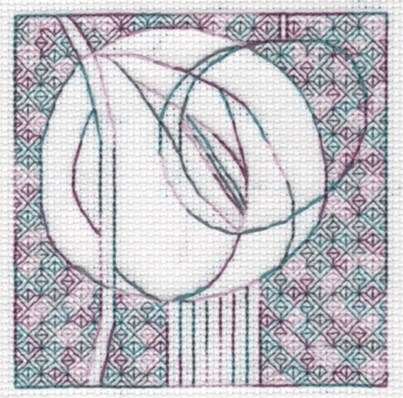 KL129 Blackwork Stencil Flower Kit from Blackwork Collection Goldleaf Needlework