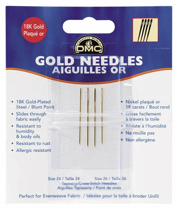 Gold plated needles for cross stitch 4 x size 24