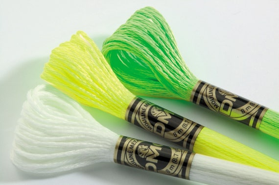 DMC Light Effects Thread set of 3 skeins Glow in the Dark and Fluorescents