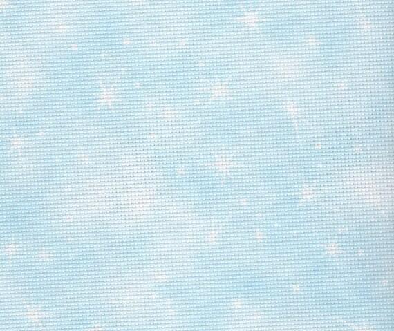 Piece approx 45 x 50cm Cloud Green with sparkles 14 count Aida Fabric Flair Fairy Dust