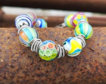 Chunky Glass Bead Bracelet Hand Blown Glass Bracelet Lampwork Bead Bracelet JB-4 Hand Blown And Lampwork Glass Bead Bracelet
