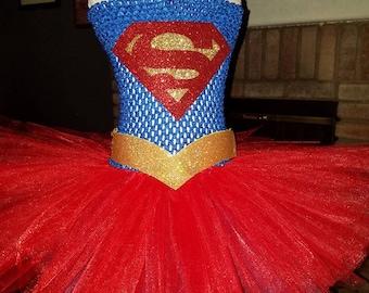 SuperGirl Tutu Oufit with Matching HairBow u0026 Gold Belt & Supergirl belt | Etsy