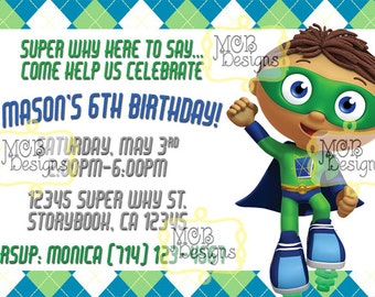 Super why invitation etsy set of 8 super why inspired invitations filmwisefo