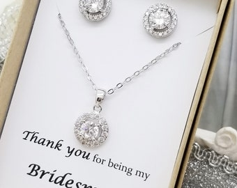 Bridesmaid CZ Jewelry Set Gift Box Bridesmaid Gift Maid of Honor Jewelry Flat Halo Set