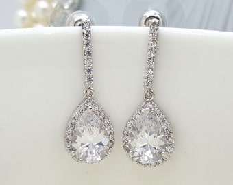 Set of 6, Four Earrings, AAA Cubic Zirconia Teardrop Wedding bridal Earrings, CZ bridesmaid earrings gifts