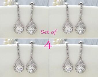 Set of 4, Four Earrings, AAA Cubic Zirconia Teardrop Wedding bridal Earrings, CZ bridesmaid earrings gifts