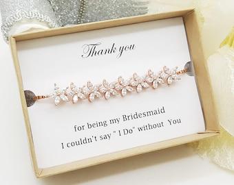 Blossom Rose Gold Cubic Zirconia Bracelet gift, Bridesmaid Bracelet Gift