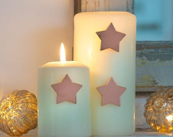 Rose Gold Christmas Candle Pin Star for a pretty Christmas Table, Candle Jewels for a Christmas Wedding,  Table Decor Candle Pins