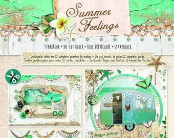 StudioLight Summer Feelings Card Making Kit, Easy Craft Card Making Kits, Summer Crafting Kit for beginners, Pop out simple papercraft kits