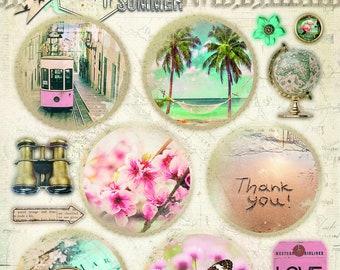 Empheria Studio Light  EASYM619  Memories of Summer 3D circular photo pop outs world travel images