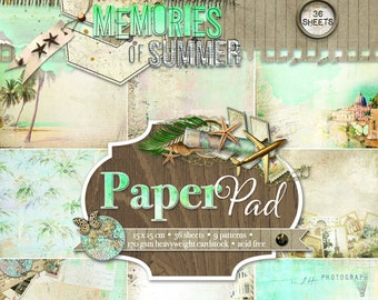 Studio Light  6 x 6 Memories of Summer Paper Pad, Card making base papers pad faded travel journal images,