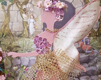 Wooden Free Standing Fairy Decor, Pink Garden Fairy wooden decoration, Unique Fairy lovers mixed media double sided fairy Decoration