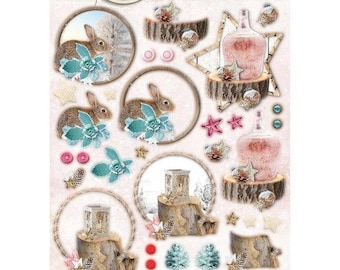 Studio Light Sweet Winter Season Rabbits and  Frosted Bottle 3D die cuts EASYSWS495,  200gsm label empheria for card and scrapbooking