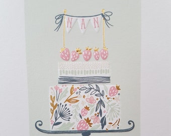 Nan Lovely Birthday card, Have a lovely Birthday Nan bunting strawberry cake gold foiled and embossed card, Birthday cake cute Nan card,