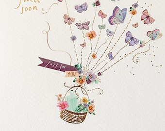 Get well soon pretty foiled butterfly card, Pastel printed butterflies and copper foil hope you feel better soon