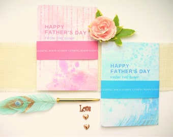 Baby Bump Fathers Day Greeting Card,  First Fathers Day Card for Baby Bump With Personalised Belly Band and Angel Charm