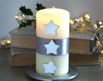 Silver Star Pillar Candle Studs, Traditional Table Decorations for A Candle Centrepiece, Silver Christmas Decor, Boxed Xmas Decorations,