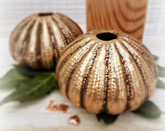Sea Urchin Bud Vase  in Antique Gold, Beach Theme Wedding table decorations, Candle holder idea for party centerpieces