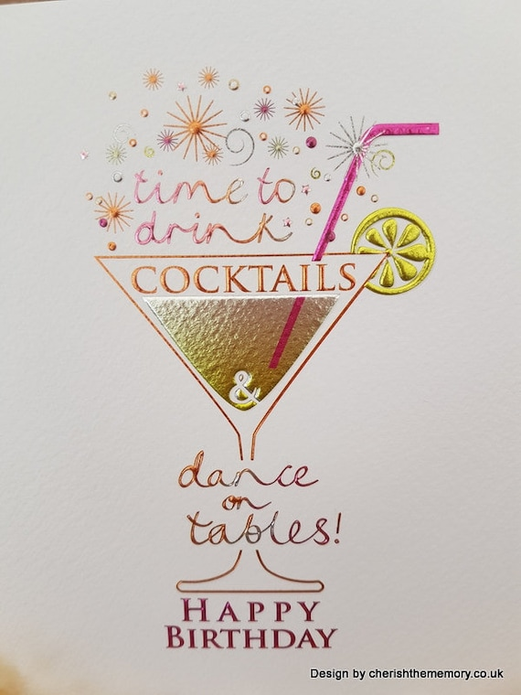 Cocktails Glass Birthday Card Ready To Send Happy Birthday Etsy