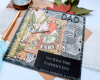 Wild Fathers Day Greeting Card with a Jungle Theme For Him, Zebra Safari Handmade Layered Handmade Greeting Card for Dad