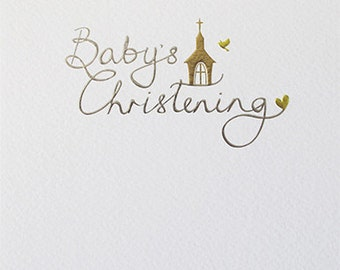 Modern Foiled Christening Card With Elegant Fonts, Delicate Baby Christening Card In Silver and Gold Type, Minimalist Christening Card