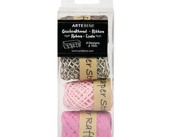 Pink and Brown Raffa by Artbene mixed box of 4 , Pretty packaging for gift wrapping, Crafting raffia and twine in a box
