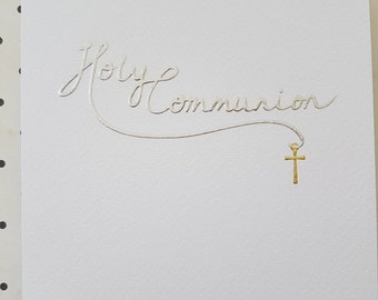 Holy Communion Card foiled and embossed greeting card, Greeting card for a 1st Holy Communion ready to send