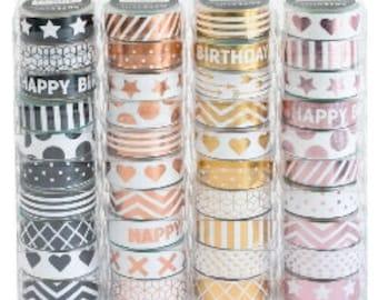 Pretty Metallic Washi Tape for paper crafts, Industrial Pattern Design Washi Tape, Luxury Stick Washi Tape by Artebene
