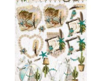 Summer Feelings Studio Light  EASYSF575, Summer Feelings die cuts on A4 sheet,  200gsm paper empheria for card and scrapbooking