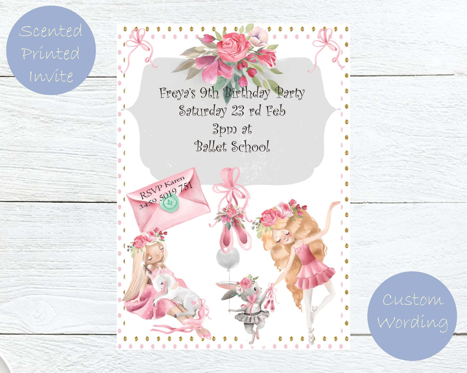 ballet party invitations with perfume, delicate floral scented ballerina birthday invitations, personalized printed kids party i