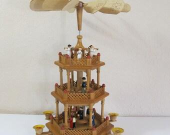 christmas german pyramid colorful figures 3 level - German Christmas Pyramid Kit