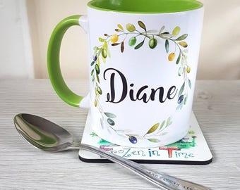 Personalised name mug | Olive wreath | personalized mug | custom coffee mug | Teacher gift | tea mug | Gift for her | teacher appreciation