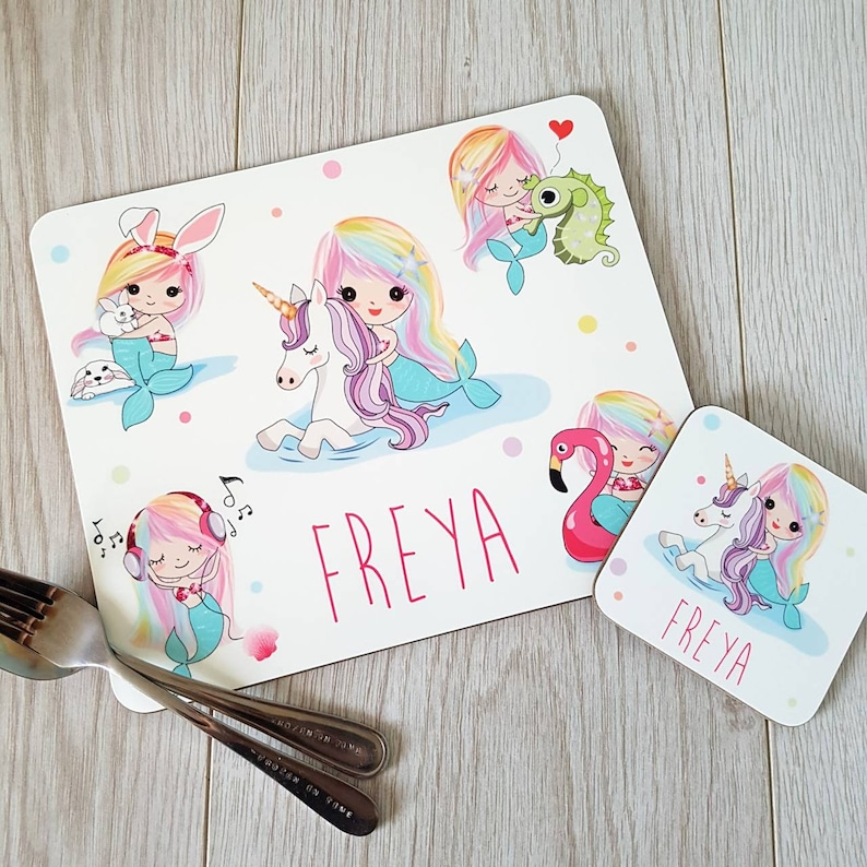 Personalised Little Mermaid Girls Kids Children/'s Table Placemat /& Coaster