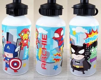 Super hero personalised water bottle personalized bottle boys water bottle superheros bottle gift super boys gift kids water