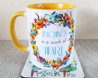Wild flower personalised name mug floral wreath personalized mug custom coffee mug Teacher gift tea mug Gift for her teacher appreciation