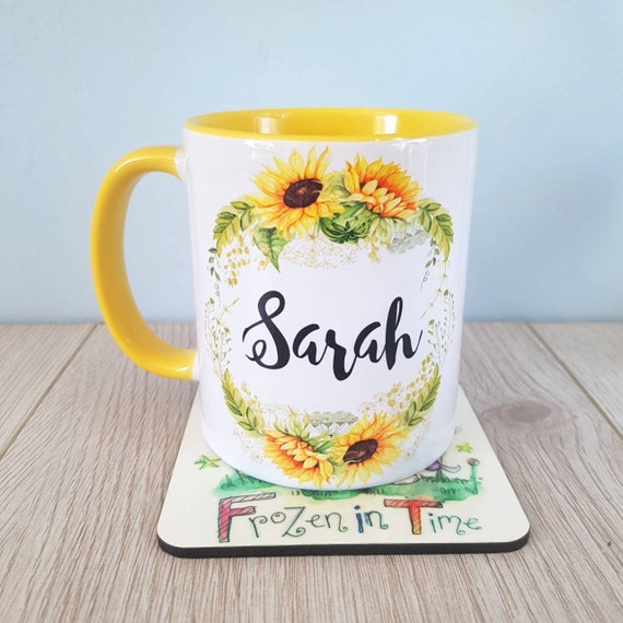 Personalised sunflower name mug floral wreath personalized custom coffee mugs