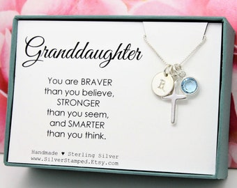 Easter gift etsy easter gift for granddaughter jewelry sterling silver initial birthstone necklace granddaughter birthday graduation baptism gift negle Images