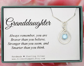 Gift For Granddaughter Sterling Silver Swarovski Birthstone Necklace You Are Braver Than Think Easter Or Birthday From Grandma