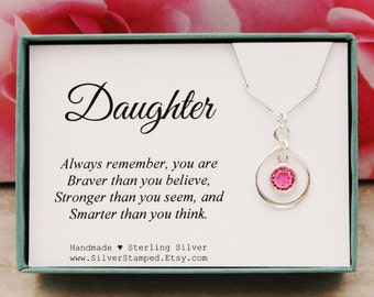 Gift for Daughter necklace 925 sterling silver Swarovski birthstone necklace Birthday Gift You are braver than you think Christmas gift
