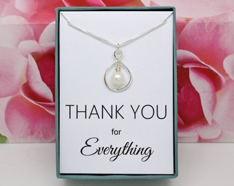 Thank you gift sterling silver infinity necklace, Swarovski pearl, hostess gift for teacher