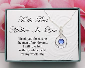 Mother In Law Birthday Gift 925 Sterling Silver Select A Swarovski Birthstone Necklace Thank You For Raising The Man Of My Dreams